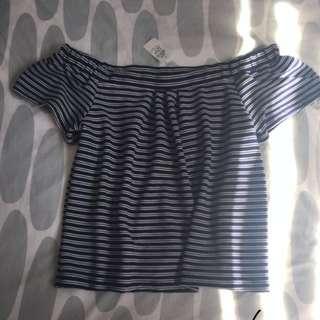 Off the shoulder Dotti striped top