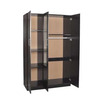 Brand New 3 Doors Combo Big Size Wardrobe with Mirror - (Black / White)