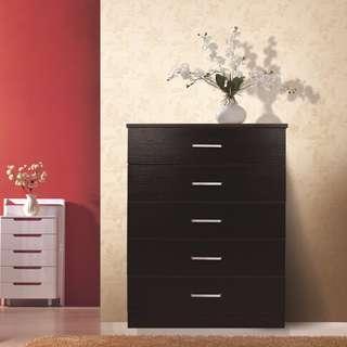 Brand new 5 Drawer Tallboy Cabinet - White/Black