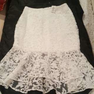 Dotti white lace skirt
