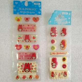 My Melody 水晶膠及3D軟綿貼紙共3張