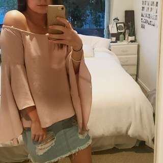 Baby pink off the shoulder top