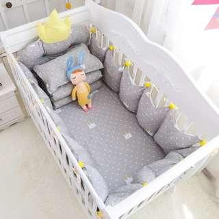 100%純棉嬰兒床組7件組