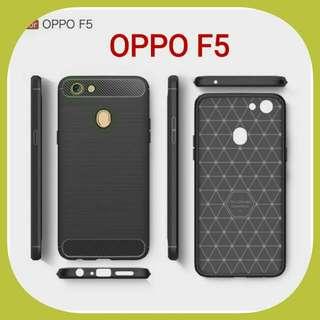 CASE FIBER CARBON OPPO F5 SOFT BACK CASE CASING HP OPPO F5