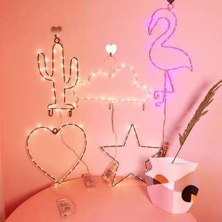 預購♥ ins韓國熱銷 火烈鳥 愛心 LED小夜燈 牆面裝飾 電池款夜燈
