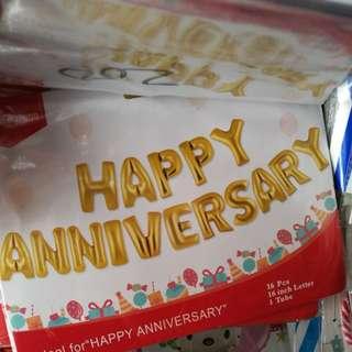 Happy anniversary letter foil balloon set