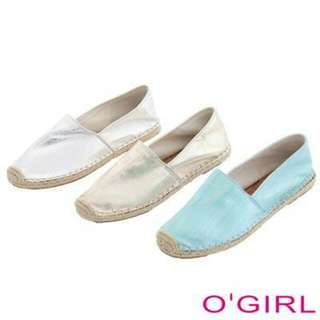 【OGIRL歐德名店】金屬感時尚編織鞋底休閒樂福鞋(金色 38)含運