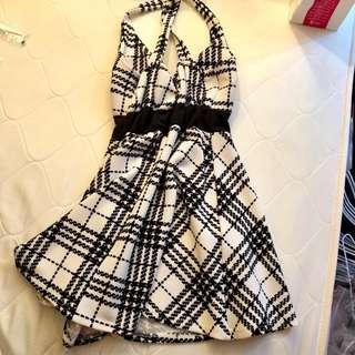 黑白細肩性感小洋裝