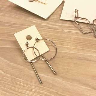 韓國 不對稱圈圈耳環 made in Korea