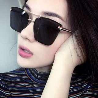 Square Shaped (Red+White+Black Leg) Unisex Sunglasses