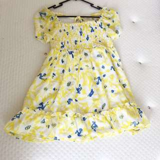 Yellow with blue floral chiffon top size 8