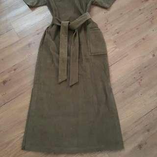 D-marjorie挺版口袋綁帶長洋裝