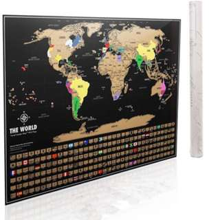 Scratch Map | Scratch Off World Map Poster Newest 2018 Version by Dacho. Original Travel Tracker Map Print w/ Flags, US states outlined. Clean design and vibrant colors to make your story come to life. The gift travelers want.