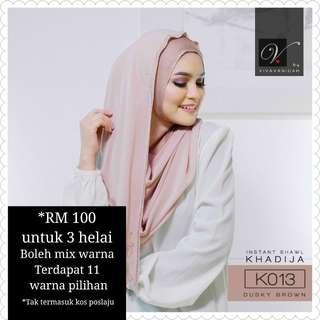 3 x helai Vivavanidah Khadija Instant Shawl - 3 for RM 100 (can mix color)