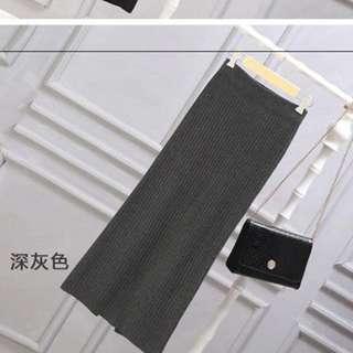 厚針織長裙深灰色