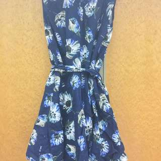 扶桑花深藍綁腰小洋裝