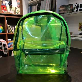 Celine transparent style  .....fluorscence green transparent backpack chic chic