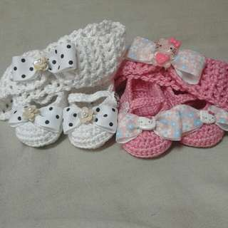 crochet shoes and headband set for your little one