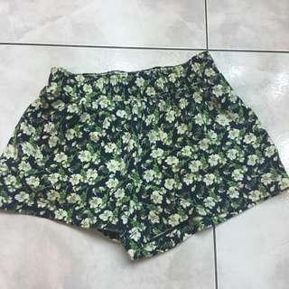 uniqlo綠色花色高腰短褲