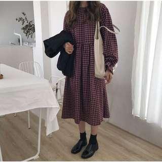 ♡文藝清新風♡韓國寬鬆長袖復古格子中長款洋裝