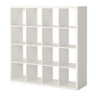 IKEA White Kallax 4x4 cubby shelves