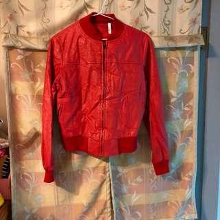紅色長袖百搭皮衣外套