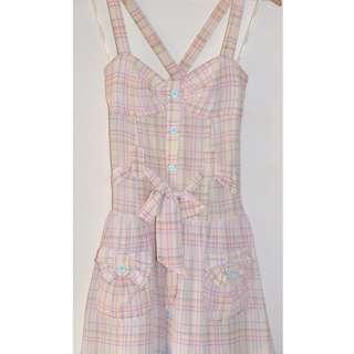 ZIMMERMANN CREAM & COLOURED CHECK SILK SUN DRESS w POCKETS & BELT 1