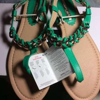 暫時保留-歐洲品牌編織金屬鍊(淡金色款)甜美夾腳女鞋羅馬涼鞋
