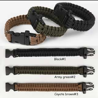 1#💙Military Army Camping Hiking Climbing Paracord Bracelet Survival Gear Kit Whistle Lifesaving Braided Rope military Wrist Band