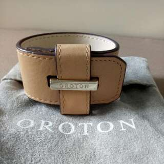 Brand New Oroton 100% Leather Beige Bracelet Band With Silver Hardware + Dust Bag