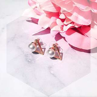 Gold triangle pearl stud earring