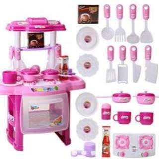 Kitchen play set toy with musical light (PINK)