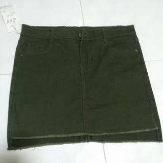 [BNWT] Khaki Green Denim Asymmetrical Skirt #single11