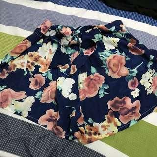 腰鬆緊花卉圖案綁帶雪紡顯瘦褲裙高腰裙