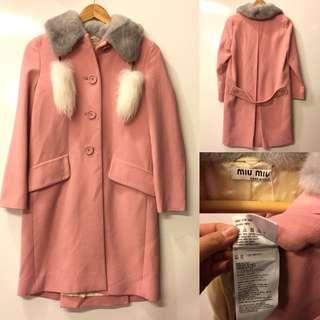 2016 Miu Miu pink with mink overcoat jacket size 36