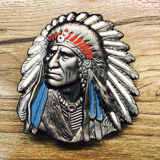 DIY Leather Belt Buckle Red Indian Chief Apache Design 7x8cm For Handmade Belts Jamjarleather