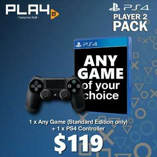 PS4 Game of Your Choice + PS4 Black Controller Bundle