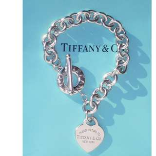 AUTHENTIC TIFFANY & CO. SILVER HEART TOGGLE BRACELET - GOOD CONDITION - WITH DUSTBAG & BOX