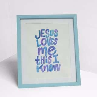 Jesus Loves Me This I Know Handmade Framed Calligraphy Art