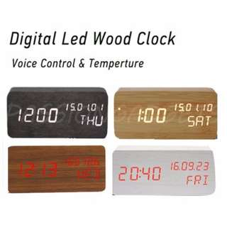 Wooden Digital Led Desk Clock Alarm Calendar Temperture Wood Clocks Sound Control