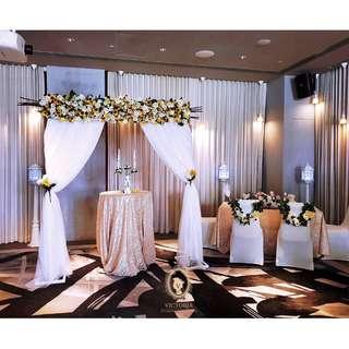 JW Mariott Overall Wedding Decor Solemnisation Reception Stage Arch