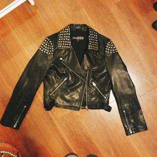 Topshop Leather Biker Jacket sz 10