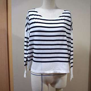 Black and White Round Neck Stripe Sweater