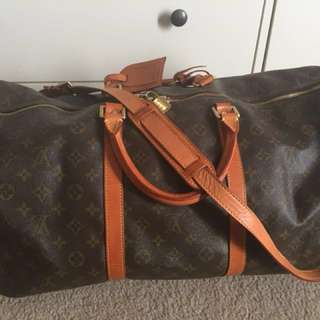 Louis Vuitton Vintage Monogram Bandouliere Keepall 55 Travel Bag