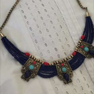 Turkish Afghan Turquoise Beaded Necklace