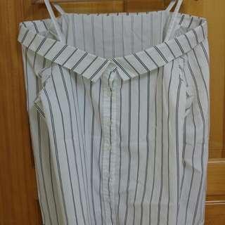日本品牌 INGNI  個性線條肩帶一字微翻領旁開叉襯衫yabbi