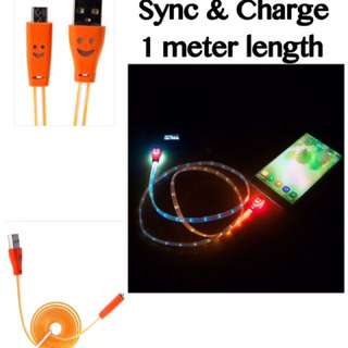 Cable USB Android Sync & Charge with LED light so colorful in dark (smiling face too 😊) 1 meter. Supports fast charging if connect to adaptor