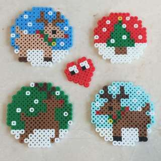 Hama/Perler Beads Coasters - Christmas Gift