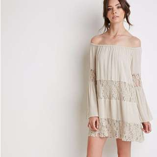New Forever 21 Lace-Paneled Off-The-Shoulder Dress