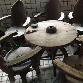 復古木頭家具(買桌椅,送立燈)